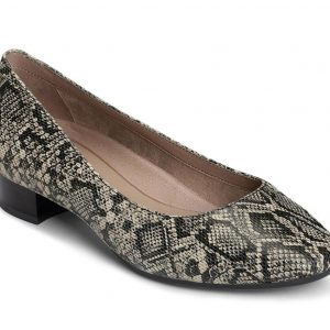 Women's Subway Dress Pump Black Tan Snake Print