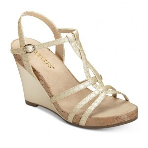 Women's Plush Song Wedge Sandal Gold Snake